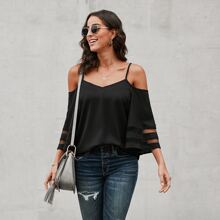 Schulterfreie Bluse mit Netzeinsatz
