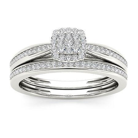 Womens 1/4 CT. T.W. Genuine White Diamond 10K White Gold Bridal Set, 6 1/2 , No Color Family