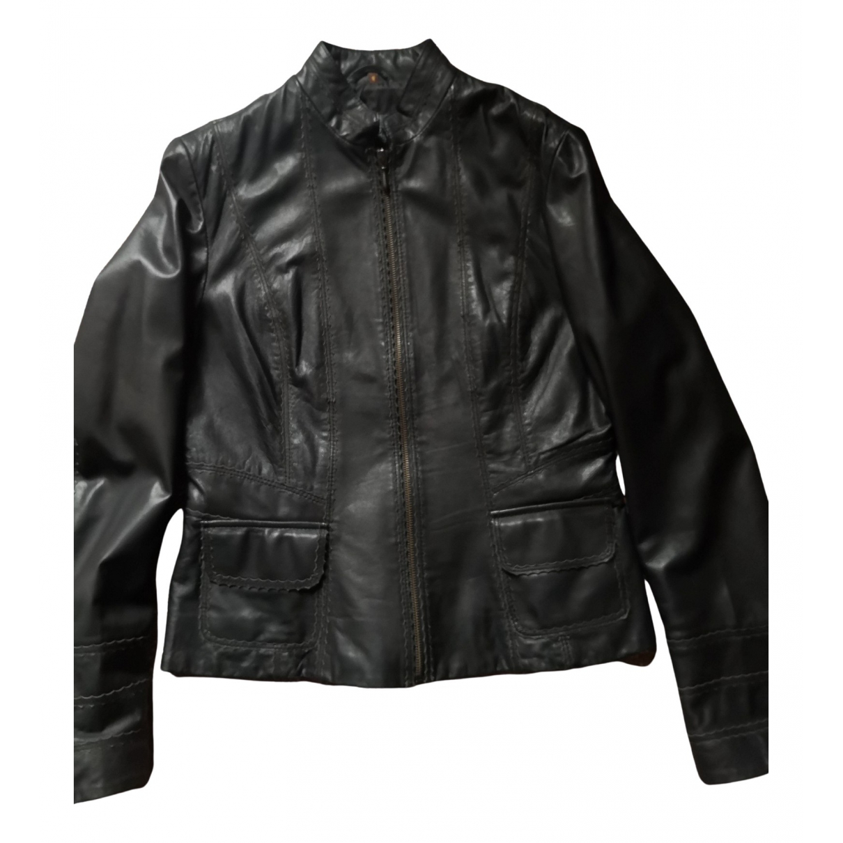 Non Signé / Unsigned N Black Leather Leather jacket for Women 46 FR