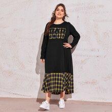 Kleid mit Buchstaben Grafik und Karo Muster am Saum