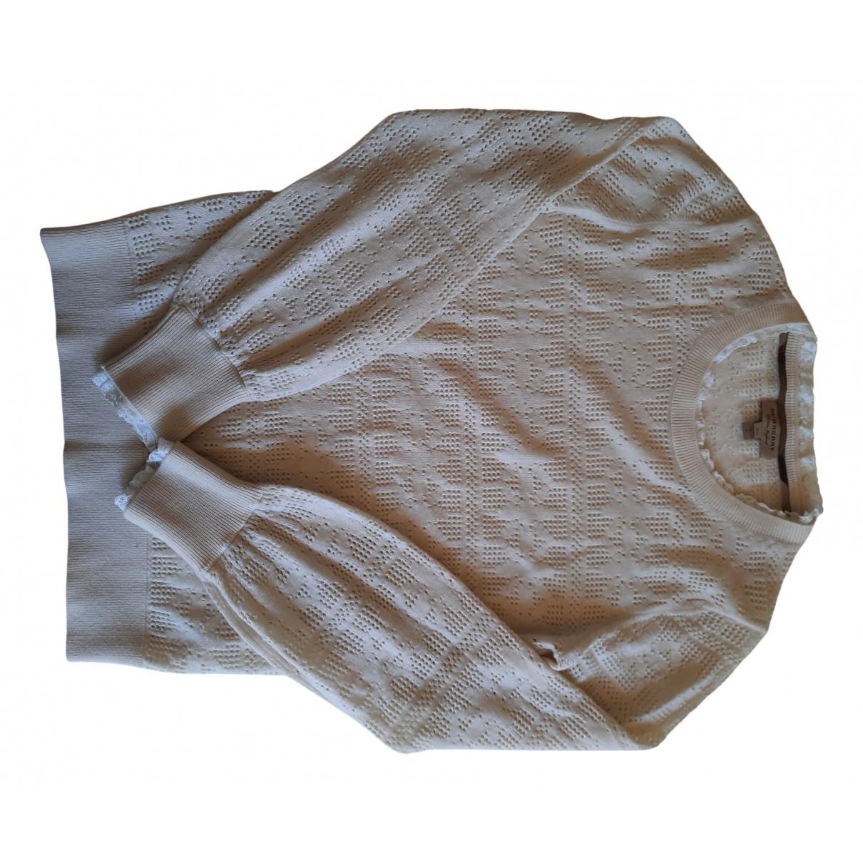 Burberry - Pull   pour femme en coton - ecru