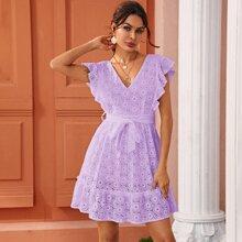 A-Linie Kleid mit Ose Stickereien, Rueschenbesatz und Guertel