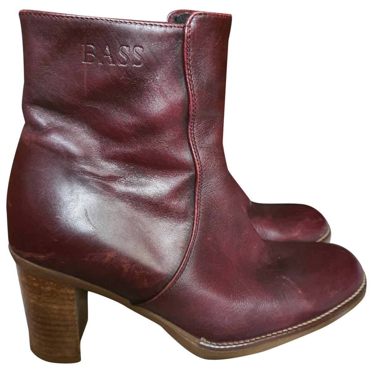- Boots   pour femme en cuir - bordeaux