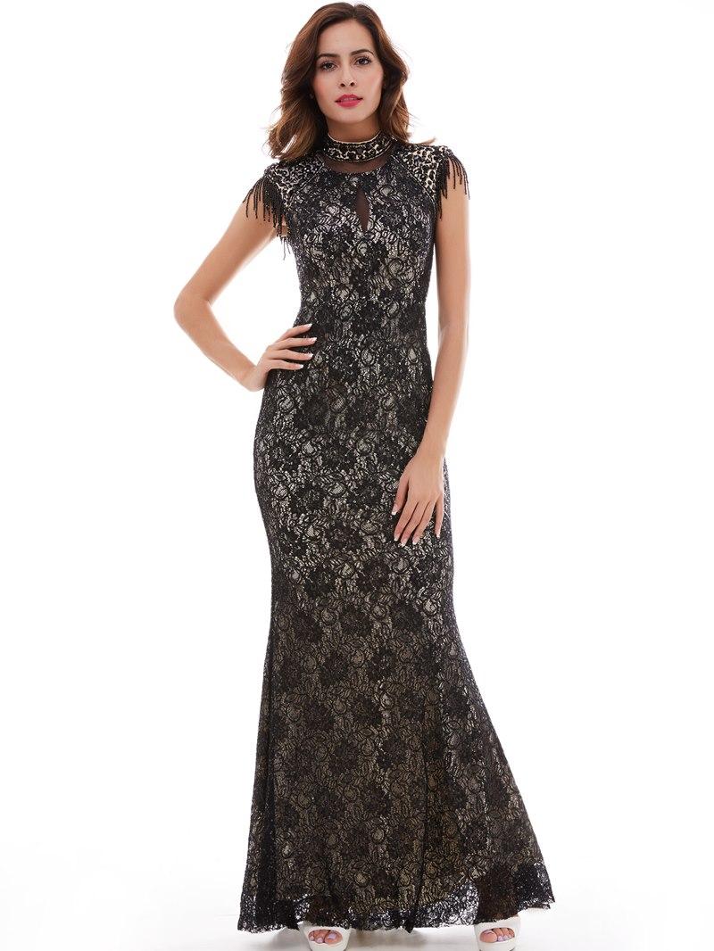 Ericdress Vintage High Neck Lace Mermaid/Trumpet Evening Dress