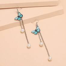 Faux Pearl & Butterfly Decor Tassel Drop Earrings