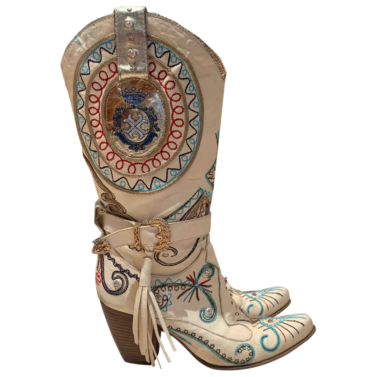 Non Signé / Unsigned Hippie Chic Beige Leather Boots for Women 39 EU