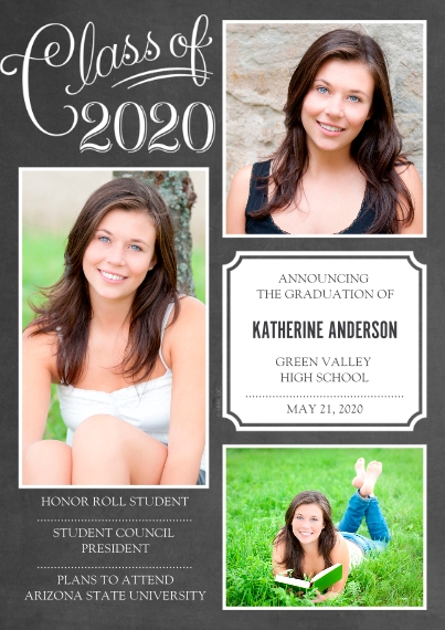 Graduation Announcements 5x7 Cards, Premium Cardstock 120lb with Scalloped Corners, Card & Stationery -Class of 2020 Script by Hallmark