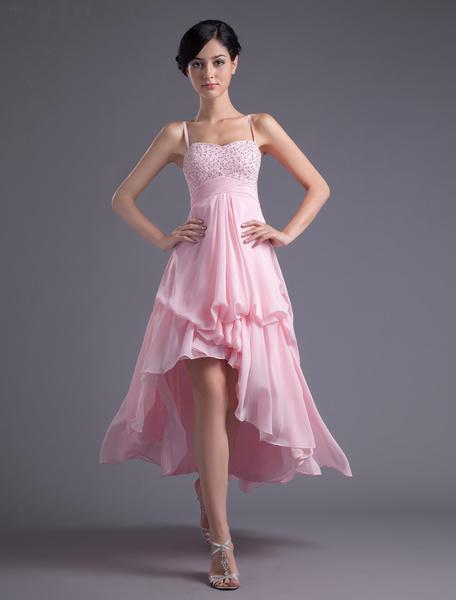 Milanoo A-line Pink Chiffon Beading Straps Asymmetrical Women's Prom Dress