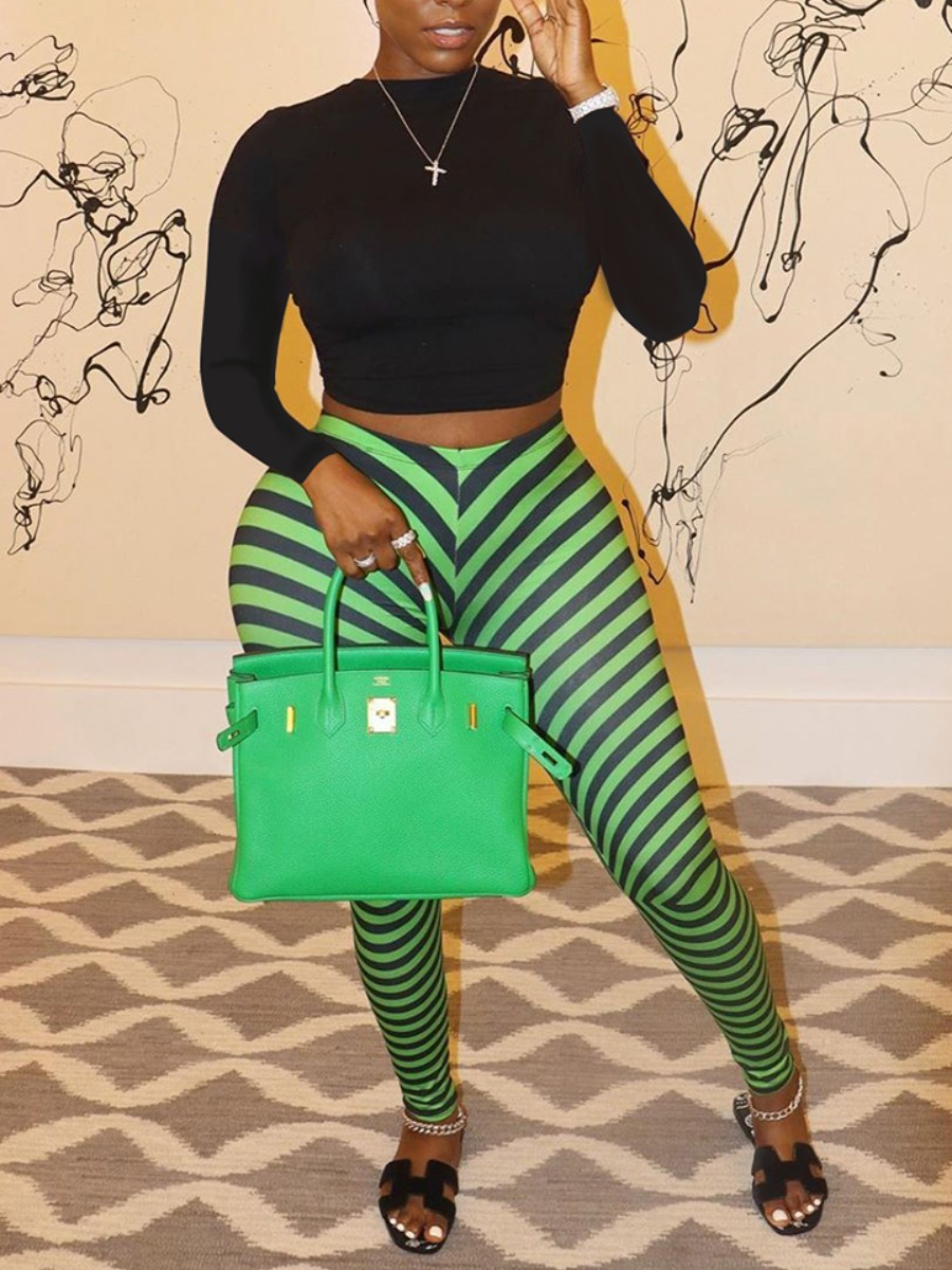 LW lovely Sportswear O Neck Striped Print Green Two Piece Pants Set