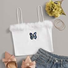 Cami Top mit Kunstpelz Einsatz und Schmetterling Grafik