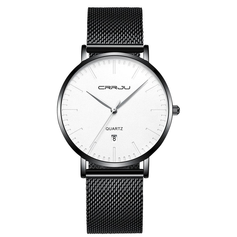 CRRJU 2269 Men Full Steel Simple Dial Date Display Quartz Watch