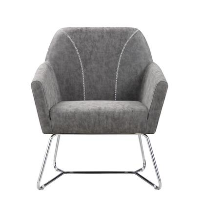 903850 30 Accent Chair with Slightly Distressed Leatherette   Baseball Stitching and Metal Base in Grey