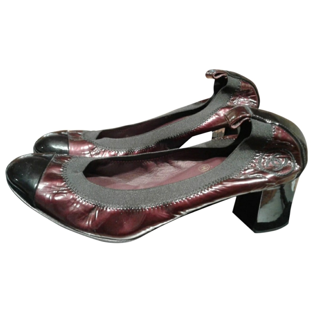 Chanel \N Burgundy Patent leather Heels for Women 38.5 EU