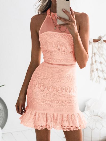 Yoins Pink Gorgeous Lace See-through Sleeveless Mini Dress