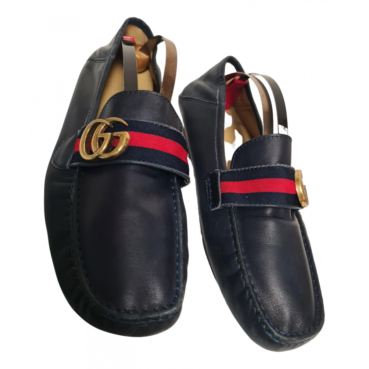 Gucci \N Navy Leather Flats for Men 43 EU