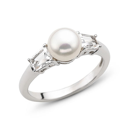 Cultured Freshwater Pearl & Lab-Created White Sapphire 3-Stone Ring in Sterling Silver, 6 , No Color Family