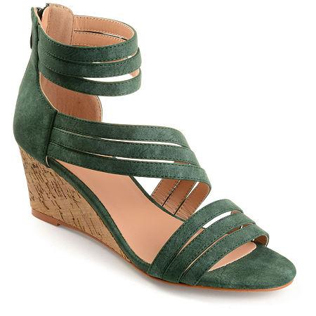 Journee Collection Womens Loki Zip Open Toe Wedge Heel Pumps, 6 Medium, Green