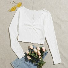 Lettuce Trim Ruched Tee