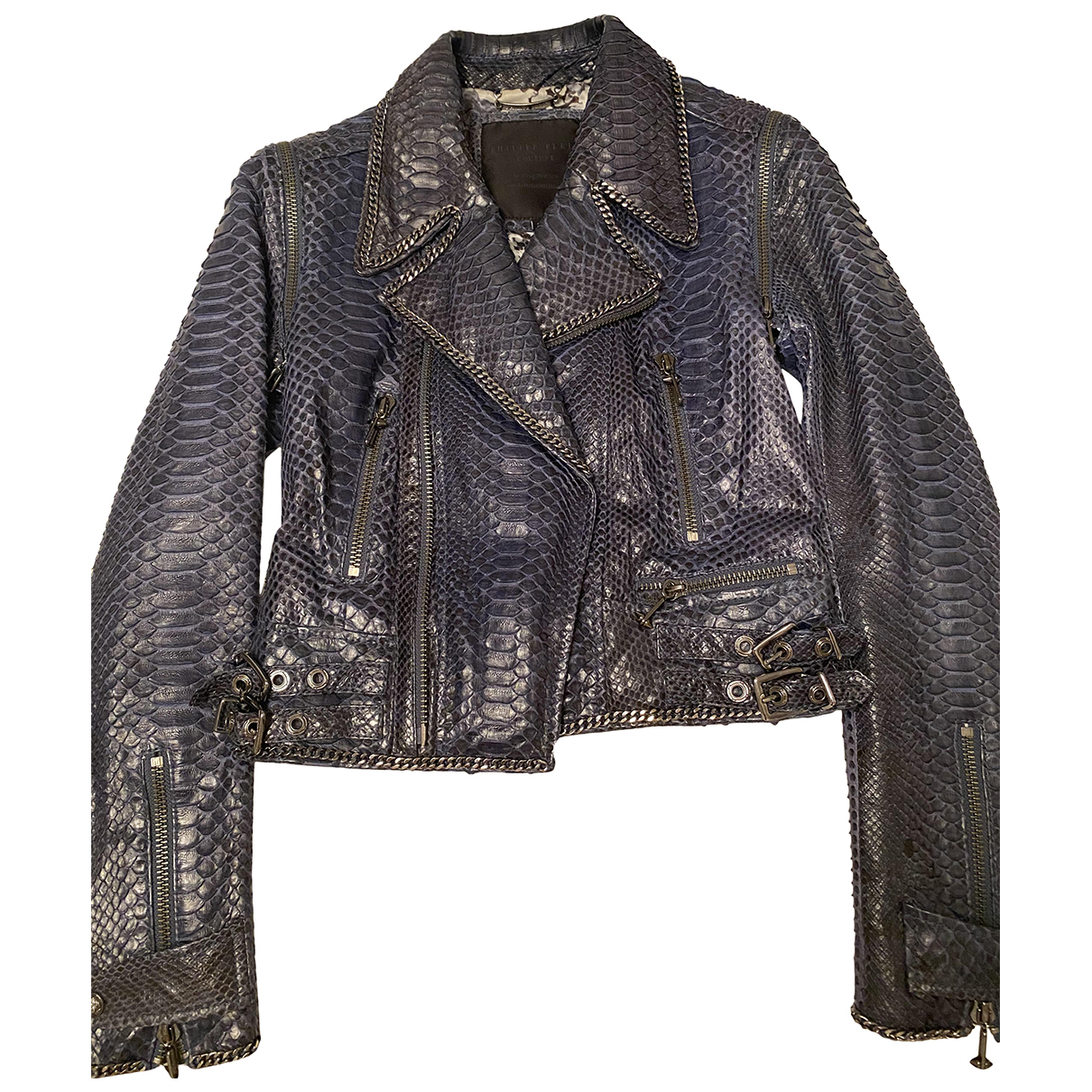 Philipp Plein \N Blue Python Leather jacket for Women 40 IT