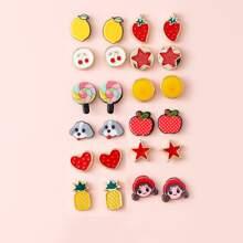 12pairs Star & Fruit Design Stud Earrings