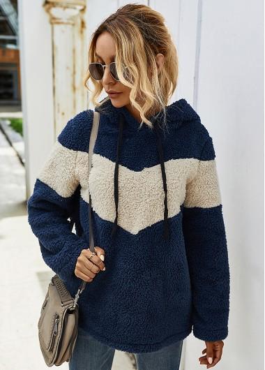 Long Sleeve Contrast Plush Drawstring Hoodie - XL