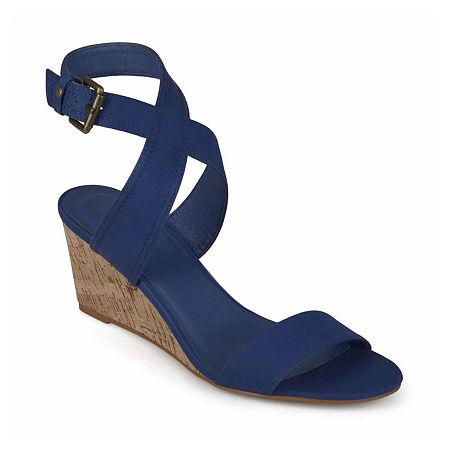 Journee Collection Womens Kaylee Pumps Wedge Heel, 9 Medium, Blue