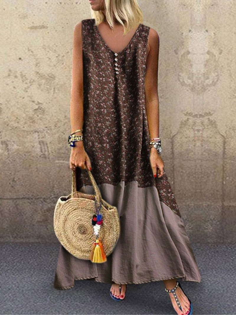 Ericdress Floral Print Color Block Ankle-Length Sleeveless V-Neck Dress