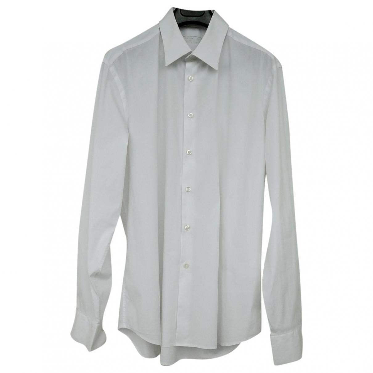 Prada \N White Cotton Shirts for Men 43 EU (tour de cou / collar)