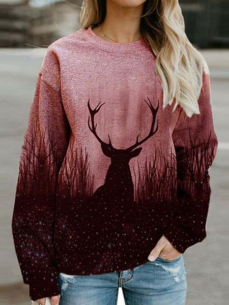 Milanoo Women Hoodie Pink Long Sleeves Printed Drawstring Polyester Hooded Sweatshirt