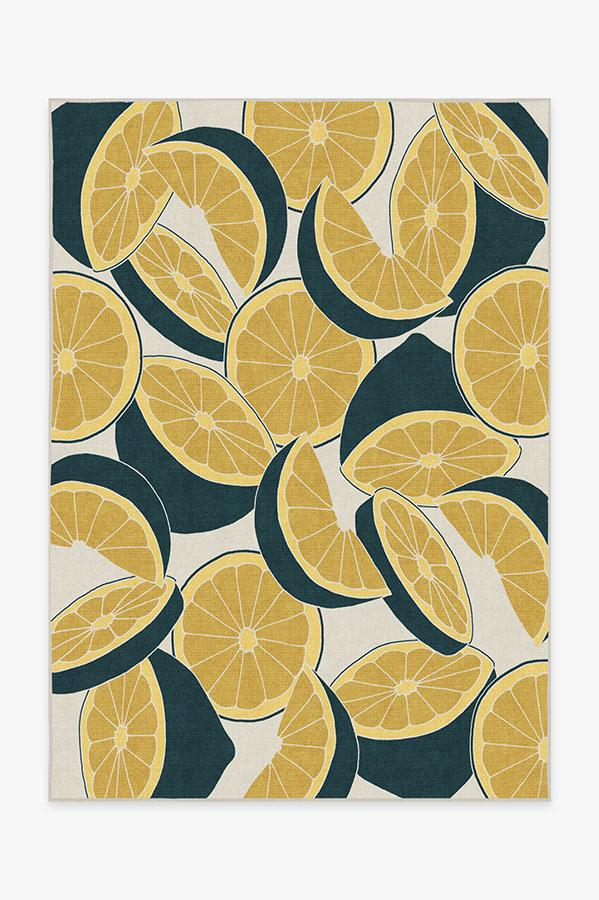 Washable Rug Cover & Pad | Citrus Teal Rug | Stain-Resistant | Ruggable | 5x7