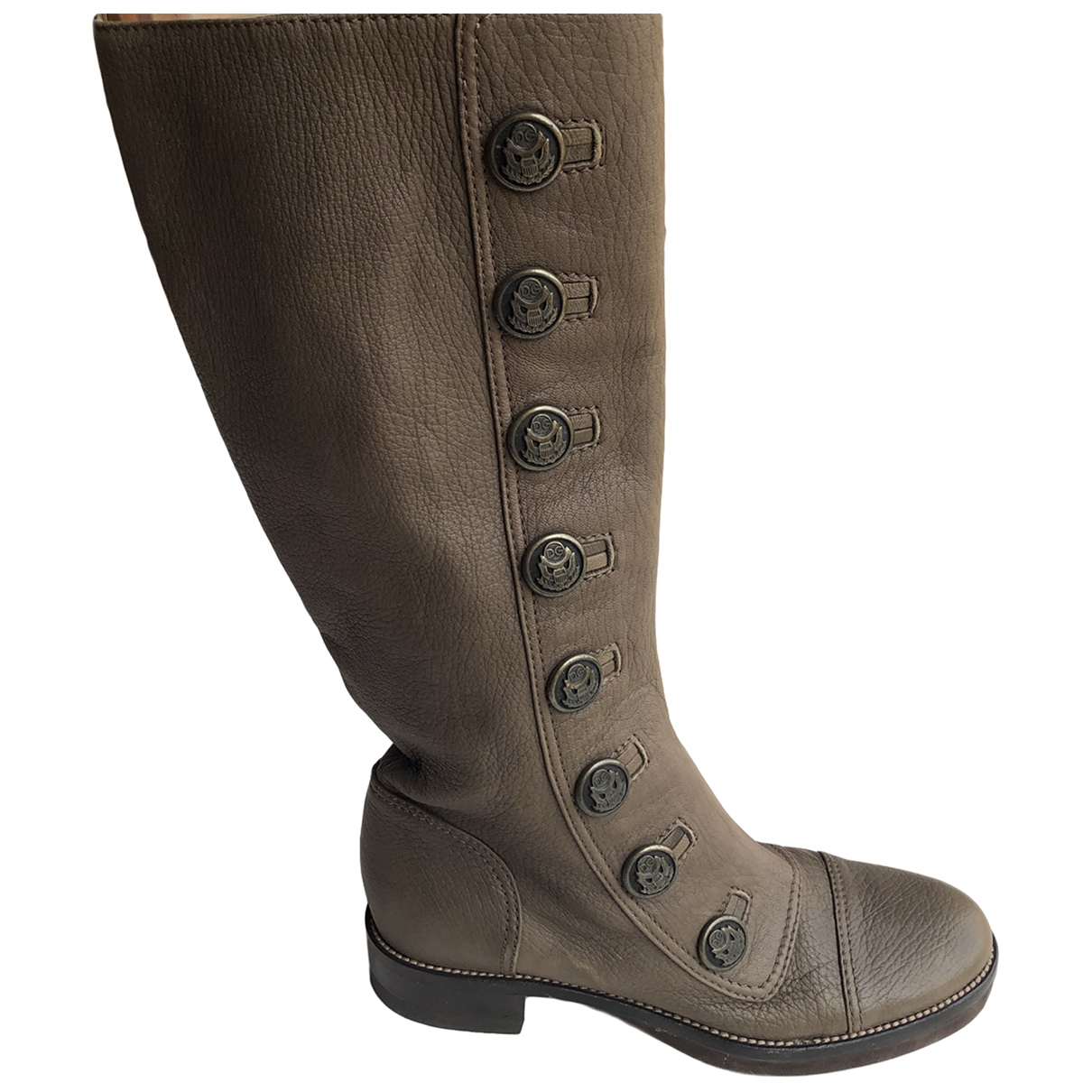 Dolce & Gabbana \N Khaki Leather Boots for Women 38 EU