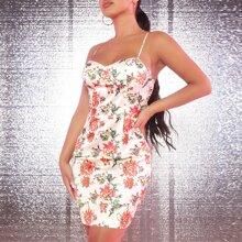 Satin Cami Kleid mit Blumen Muster