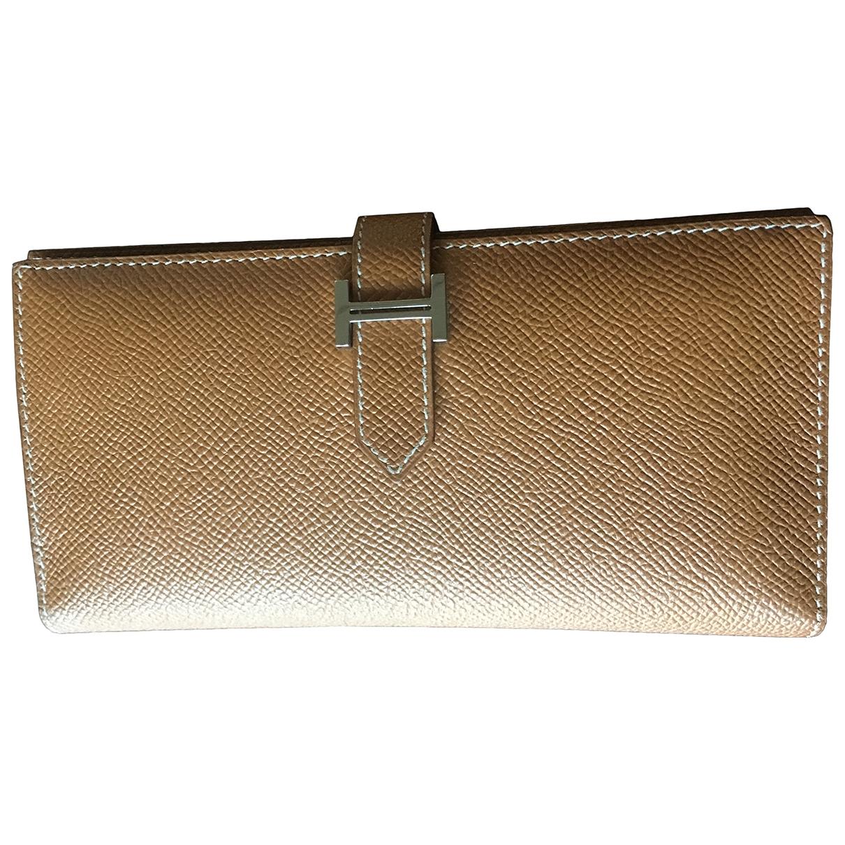 Hermes - Portefeuille Bearn pour femme en cuir - marron