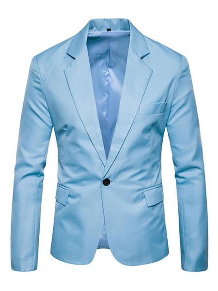 Milanoo Hombre Casual Blazer con Cuello en V 2020 Un Boton Bolsillo Slim Fit Blazer Chaqueta