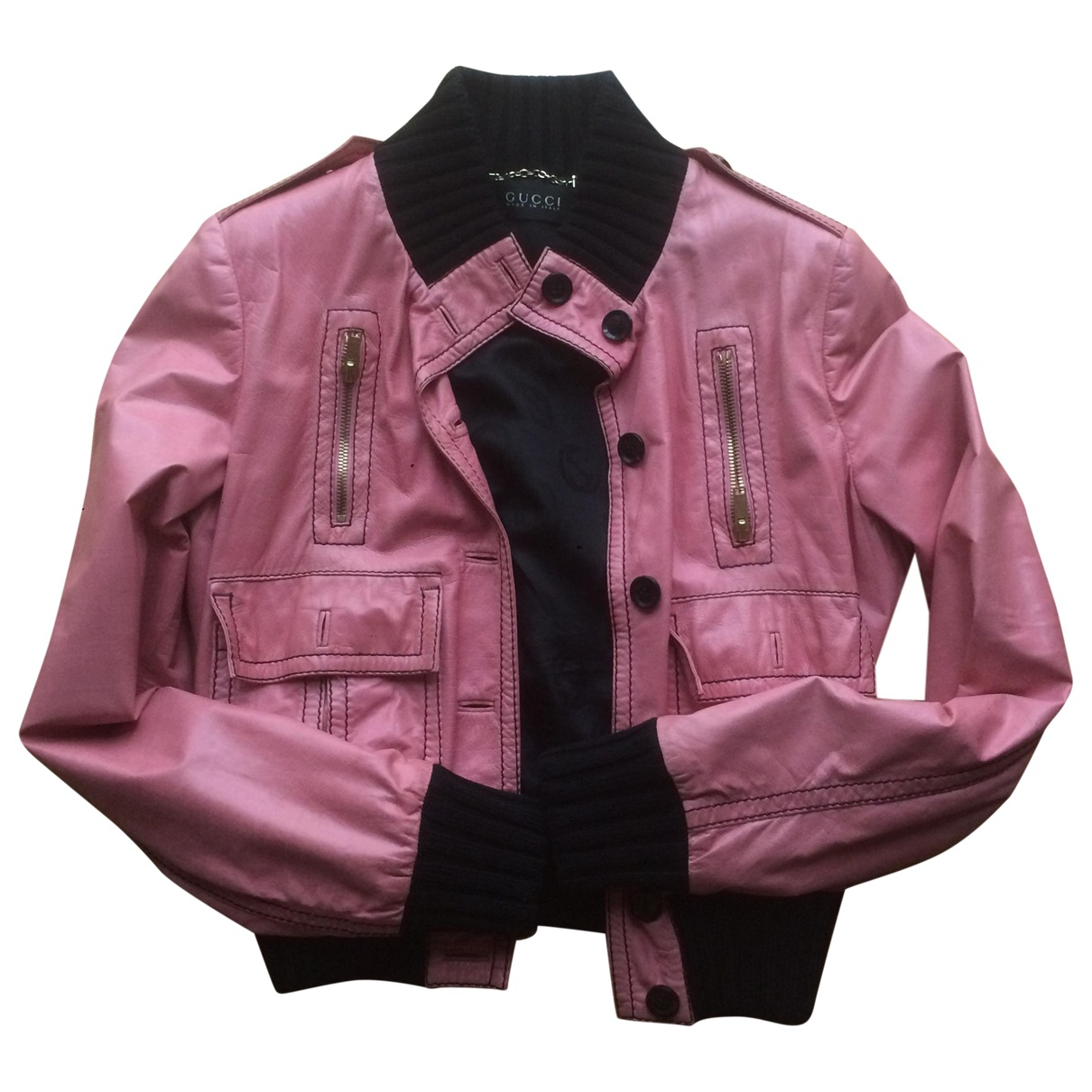 Gucci N Pink Leather Leather jacket for Women 42 IT