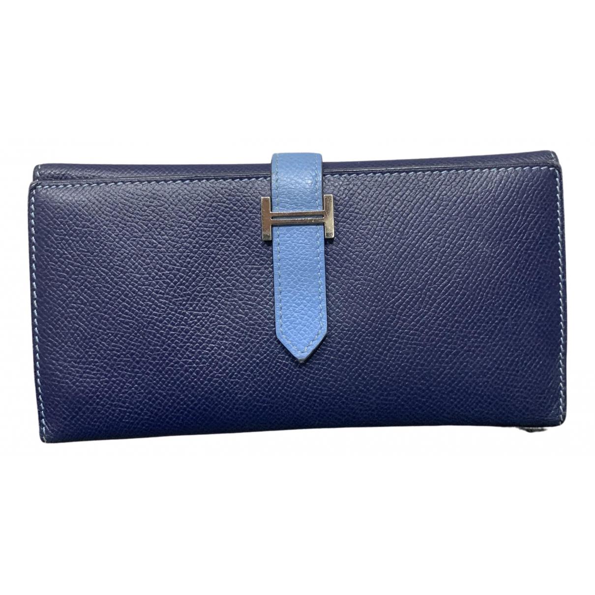 Hermes - Portefeuille Bearn pour femme en cuir - bleu