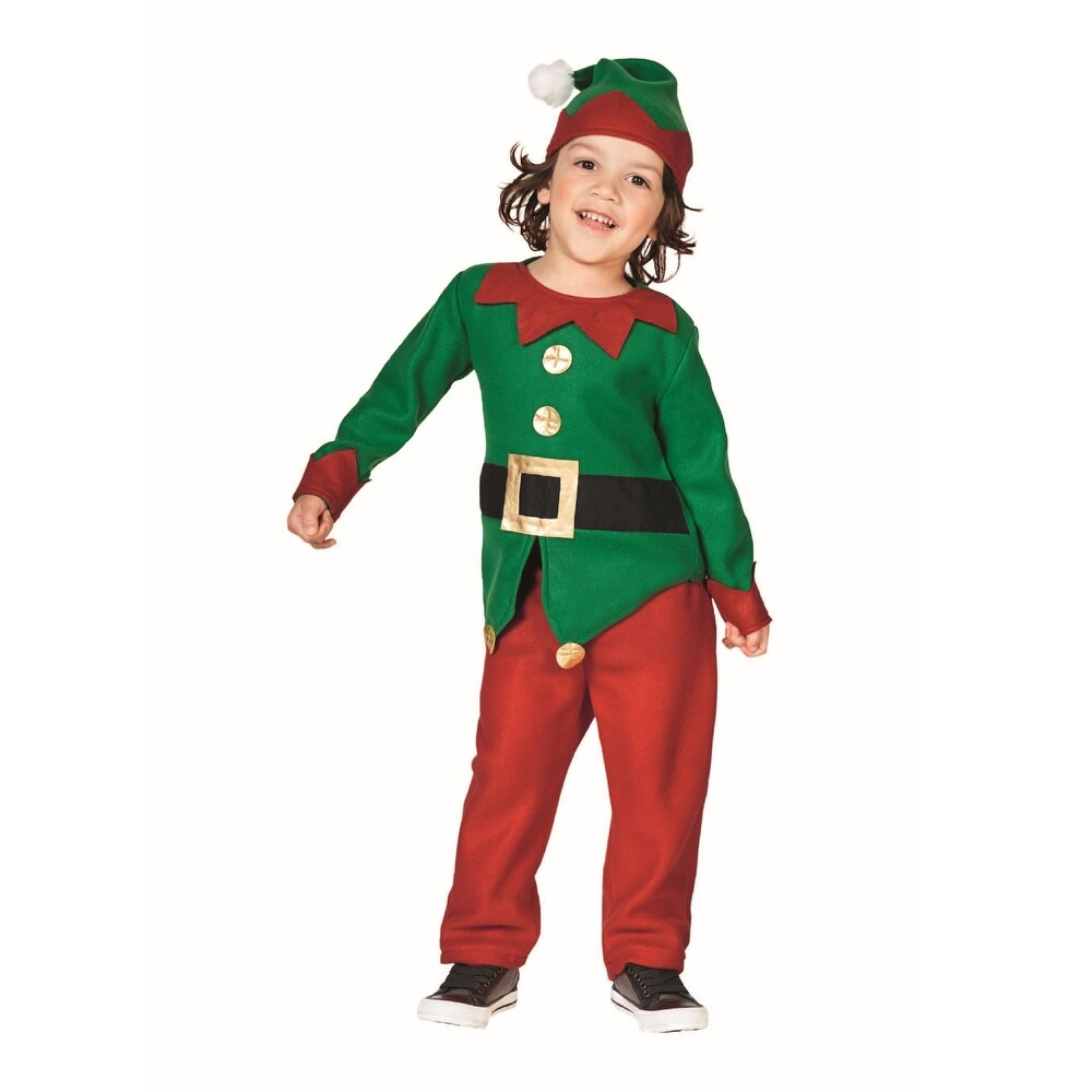 Red and Green Elf  Boy's Christmas Costume - 6-8 Years (Red)
