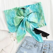 Tie Dye Knot Front Ruffle Trim Shirred Tube Top