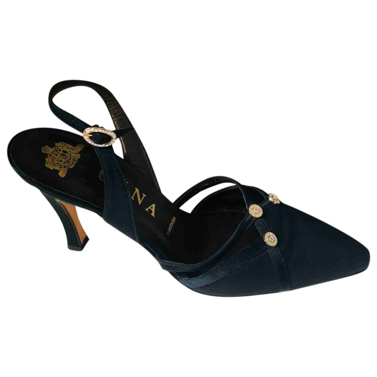 Gina \N Black Cloth Heels for Women 4 UK