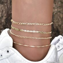 4pcs Simple Chain Anklet