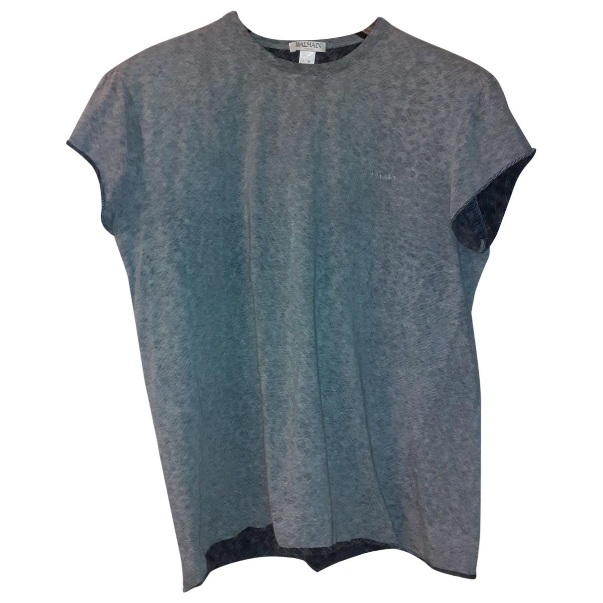 Balmain \N Grey Cotton T-shirts for Men XXL International
