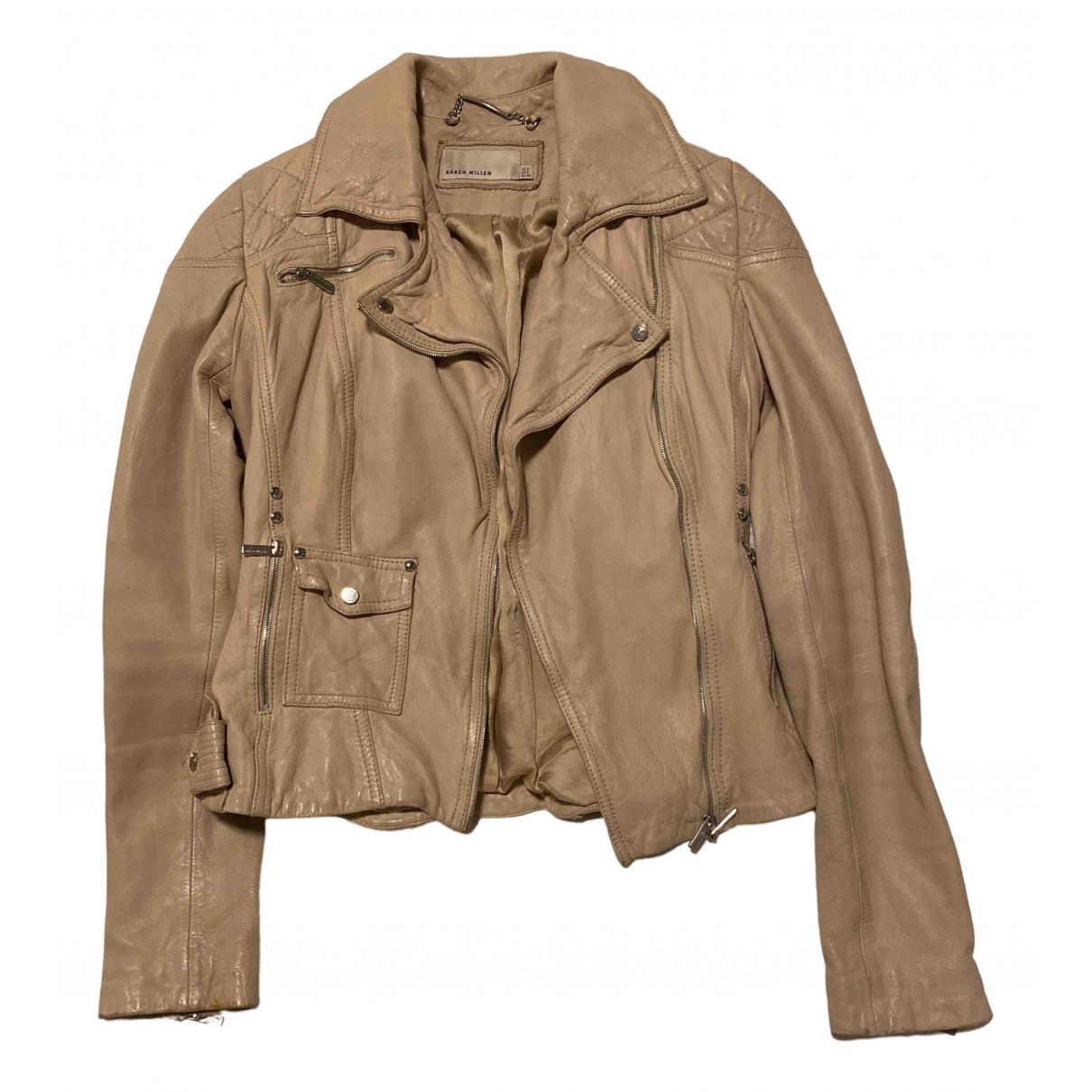 Karen Millen \N Beige Leather jacket for Women 6 UK