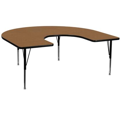 XU-A6066-HRSE-OAK-T-P-GG 66 Activity Table with Horseshoe Shape  Height Adjustable Short Tubular Steel Legs  Stain Resistant Surface and Thermal