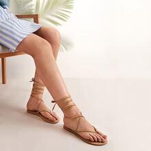 Toe Post Cross Strap Tie Leg Sandals