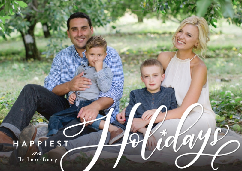 Holiday Photo Cards 5x7 Cards, Standard Cardstock 85lb, Card & Stationery -Holiday Happiest by Tumbalina
