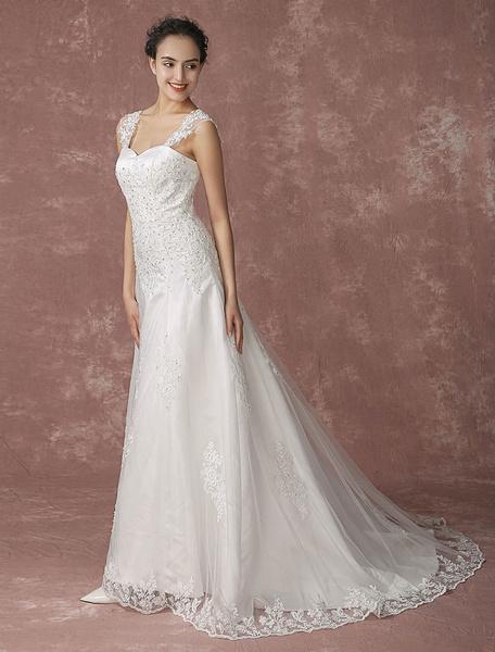 Milanoo Sweetheart Wedding Dress Lace Chapel Train Bridal Gown Beading Backless A-line Bridal Dress