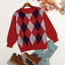 Pullover mit Argyle Muster und rundem Kragen