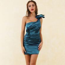 Lucra One Shoulder Big Bow Ruched Satin Dress