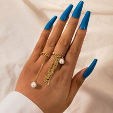 2pcs Faux Pearl & Metal Tassel Decor Ring