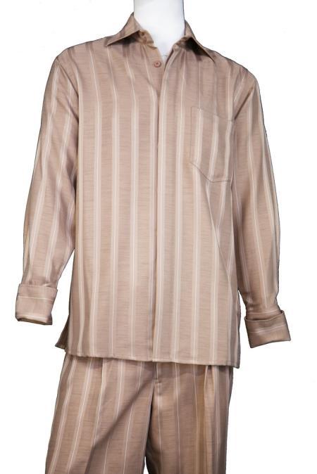 Mens Button Fastening Centerline Stripe Walking Suit